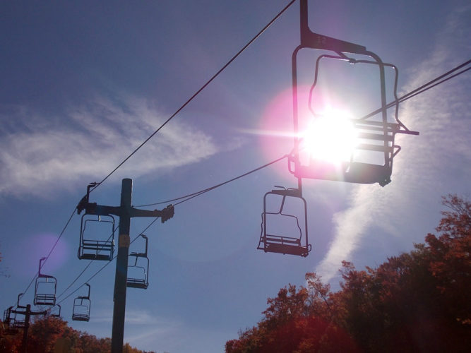Chairlifts at Big Tupper Ski Area are seen in October. (Enterprise photo — Brittany Proulx)