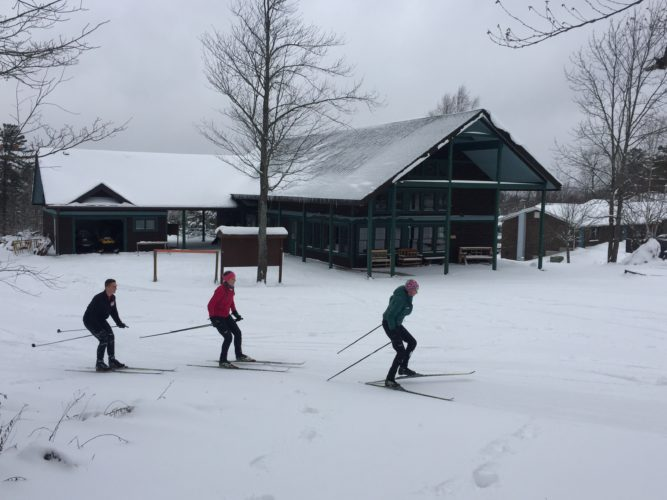 Cross-country skiers make their way out onto the trails at Dewey Mountain Recreation Center in Saranac Lake this week. (Photo provided — Jason Smith)