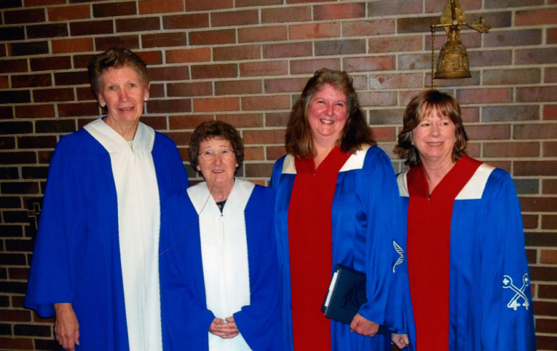 "The Court of St. Bernard No. 787 Catholic Daughters in Saranac Lake recently elected its 2016-18 officers. Pictured from left, are Regent Rose Ann Hickey, Vice President Marilyn ""Judy"" Bibeau, Secretary Carol Ward and Recording Secretary Mary McClean. Beryl Szwed was elected financial secretary, but is not pictured. (Photo provided)"