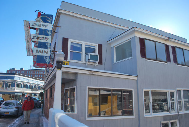 The new owners of the former Dew Drop Inn at 27 Broadway in Saranac Lake got a boost Monday as the village OK'd a $200,000 economic development loan to pay for interior demolition and basic infrastructure work. (Enterprise photo — Chris Knight)