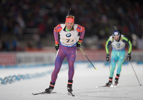 Lowell Bailey, of Lake Placid, skis in the second position for the U.S. mixed relay team Sunday in Oestersund, Sweden. (Photo — Nordic Focus/U.S. Biathlon)
