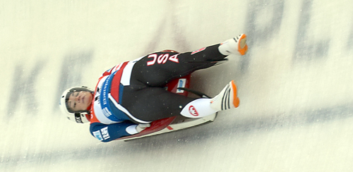 Summer Britcher, from Glen Rock, Pennsylvania, slides through curve 10 in Saturday's World Cup race at Mount Van Hoevenberg in Lake Placid. Britcher had the best performance for an American in the women's race, finishing fourth. (Enterprise photo — Justin A. Levine)