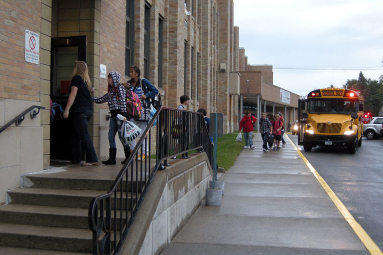 Students enter Tupper Lake Middle-High School in 2010. (Enterprise photo — Jessica Collier)
