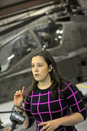 Rep. Elise M. Stefanik, R-Willsboro, speaks to media during a tour of Wheeler-Sack Army Airfield in April. (Photo provided — Amanda Morrison, Watertown Daily Times)