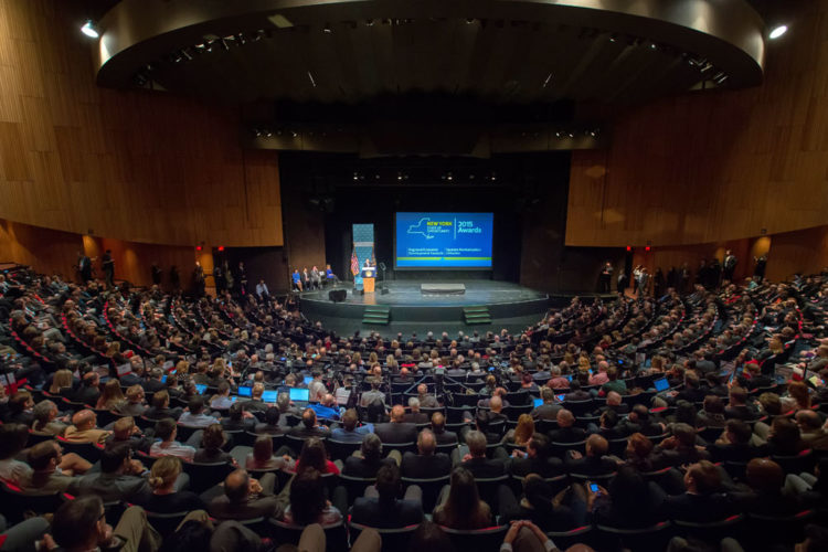 Gov. Andrew Cuomo announces the 2015 Regional Economic Development Council awards last December at the Egg's Hart Theatre in Albany, where this year's awards were held today. (Photo provided by the governor's office)