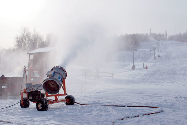 Snow is made at Mount Pisgah Ski Center in Saranac Lake in December 2012. (Enterprise photo — Chris Knight)