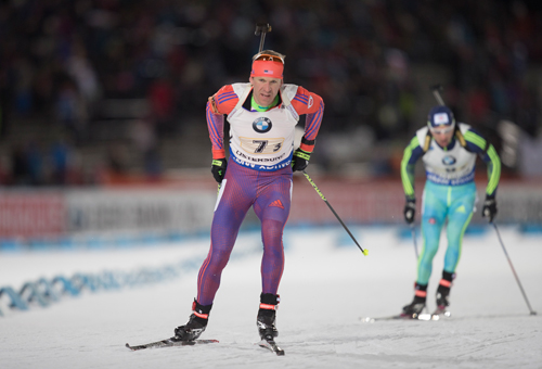 Lowell Bailey, of Lake Placid, competes in the World Cup mixed relay Nov. 27 in Oestersund, Sweden. Bailey finished 18th in the 10-kilometer sprint race Friday in Pokljuka, Slovenia. (Photo — Nordic Focus/U.S. Biathlon)