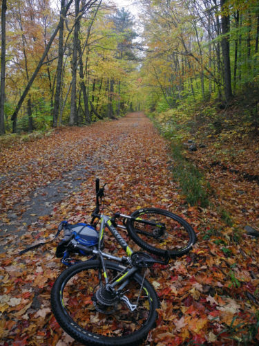 For now, biking is allowed on former logging roads to Boreas Ponds in the Adirondack Park's newest state land tract, as seen in October. (Enterprise photo — Chris Knight)