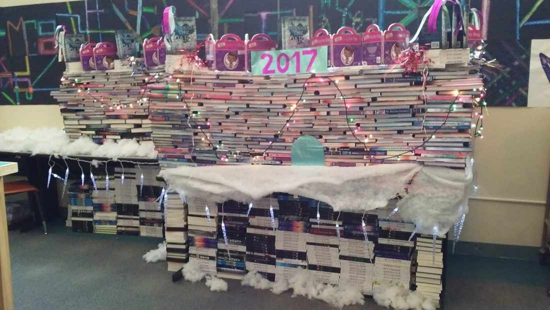 """A """"Book Palace"""" created by Saranac Lake middle school teacher Maria DeAngelo is displayed in the Saranac Lake Middle School library. (Photo provided — Maria DeAngelo)"""