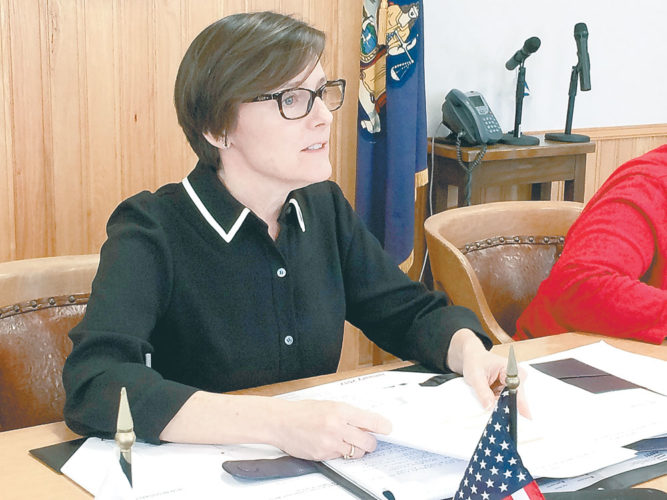 Barbara Rice, D-Saranac Lake, presides over her first meeting as chair of the Franklin County Board of Legislators Thursday. (Enterprise photo — Chris Knight)