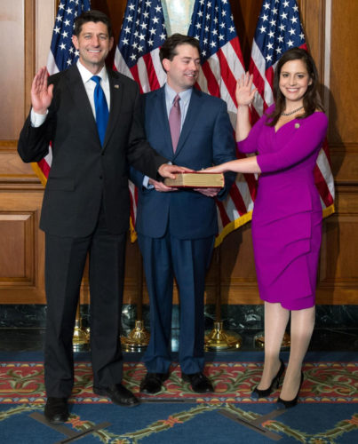 U.S. House Speaker Paul Ryan, left, a Republican from Wisconsin, participates in the swearing-in ceremony for Rep. Elise Stefanik, R-Willsboro, on Tuesday in Washington. (Photo provided)
