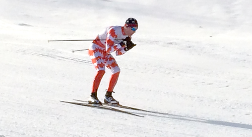 Saranac Lake's Lauchlan Cheney-Seymour takes on a downhill section of the North Creek Ski Bowl course Saturday at the Queensbury Invitational. (Photo — Keith Kogut)