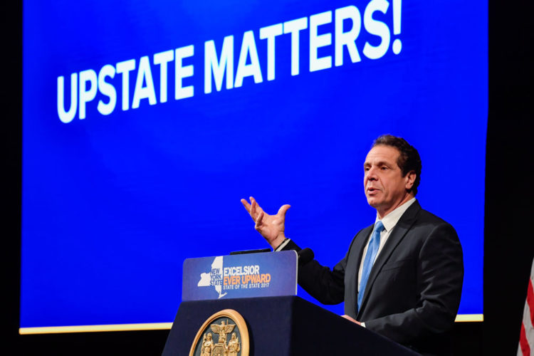 Gov. Andrew Cuomo speaks Wednesday during his final State of the State address in Albany. (Photo courtesy of the governor's office)
