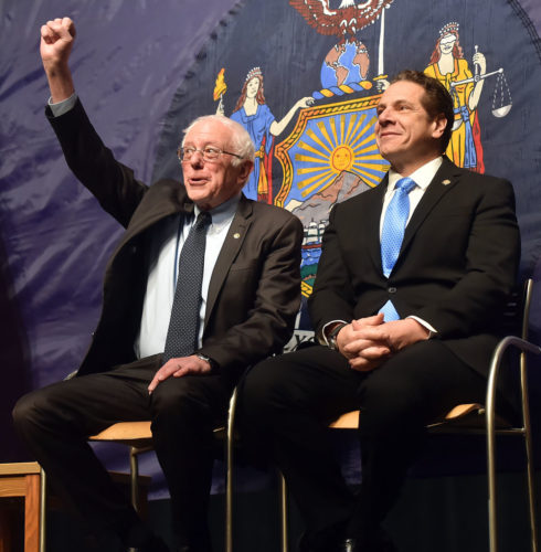 U.S. Sen. Bernie Sanders, I-Vt., left, and New York Gov. Andrew Cuomo hold a press conference Jan. 3 in Queens to announce Cuomo's plan for the state to cover all college tuition costs for students from middle-and low-income households. (Photo provided — Kevin P. Coughlin, governor's office)