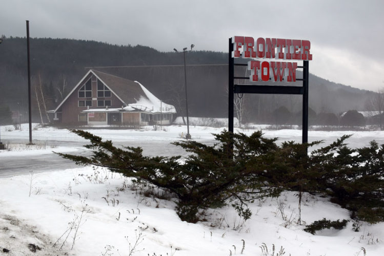The A-frame main lodge of the former Frontier Town theme park sits just off of Interstate 87's Exit 29 in North Hudson. (Enterprise photo — Justin A. Levine)