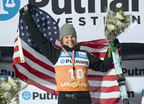 American Ashley Caldwell celebrates her victory in Saturday's World Cup aerials competition at the Olympic Ski Jumping Complex in Lake Placid. (Enterprise photo — Lou Reuter)