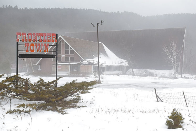 The A-frame main lodge of the former Frontier Town theme park, closed since 1998, sits just off of Interstate 87's Exit 29 in North Hudson. (Enterprise photo — Justin A. Levine)