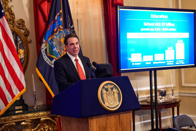 Gov. Andrew Cuomo delivers his 2017-18 Executive Budget to members of the media at the Executive Mansion Tuesday. (Photo provided by the governor's office)