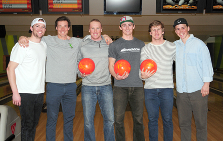United States alpine ski team athletes enjoy a night of bowling Tuesday at Romano's Saranac Lanes in Saranac Lake. From the left are Nick Krause, Kipling Weisel, Sam Morse, Drew Duffy, Erik Arvidsson and River Radamus. (Enterprise photo — Lou Reuter)