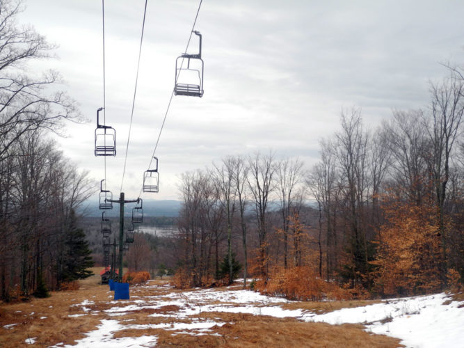 Big Tupper Ski Area's Chair 2 in Tupper Lake remains dormant this winter as the Adirondack Club and Resort project is still in the process of garnering environmental permits. (Enterprise photo — Kelly Carroll)