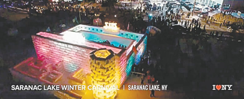The Saranac Lake Winter Carnival Ice Palace leads off a new I Love New York television ad.