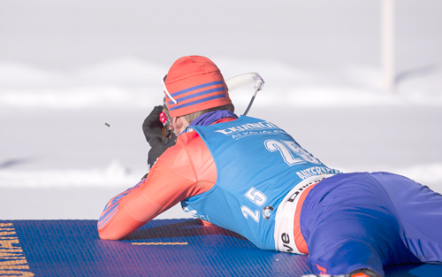 Lowell Bailey, of Lake Placid, shoots during the 20-kilometer individual World Cup biathlon race Friday in Antholz, Italy. (Photo — U.S. Biathlon/Nordic Focus)