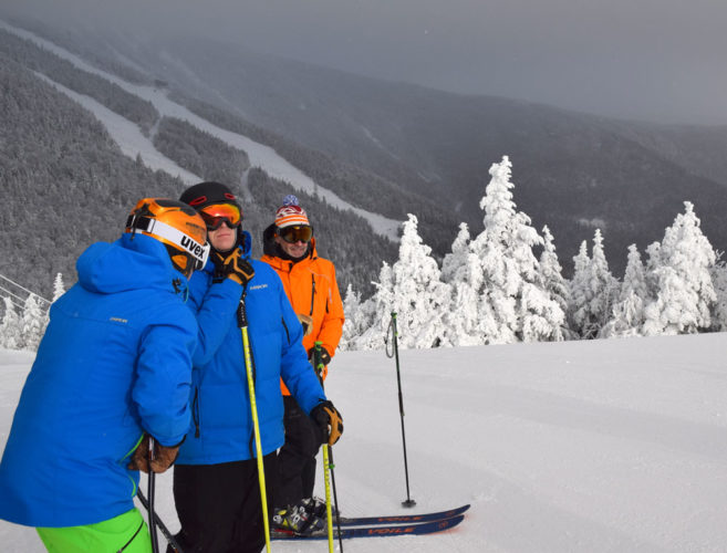 People get ready to ski down Whiteface Mountain in December. (Enterprise photo — Justin A. Levine)