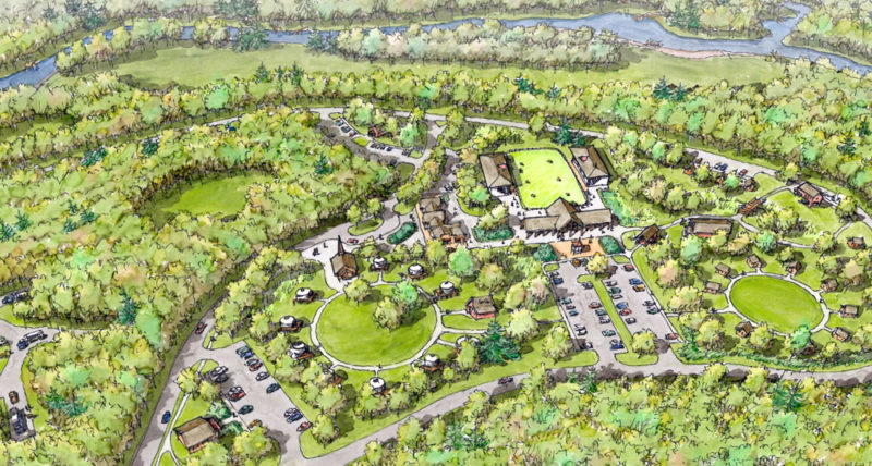 This illustration shows what a state-sponsored development at the former Frontier Town theme park in North Hudson might look like. The Schroon River is in the background. (From Upper Hudson Recreation Hub Master Plan by Chazen Companies, Open Space Institute, Saratoga Associates)