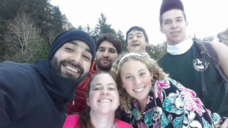 """From left, Tanveer Hussain, Lenore Marcuson (front), Umer Nabi, Chloe Mattilio (front), Rand Snyder and Matty """"Ice"""" Leichty enjoy the outdoors in Vezz d'Oglio, Italy while preparing for last year's World Snowshoe Championships. (Photo provided — Jim Tucker)"""