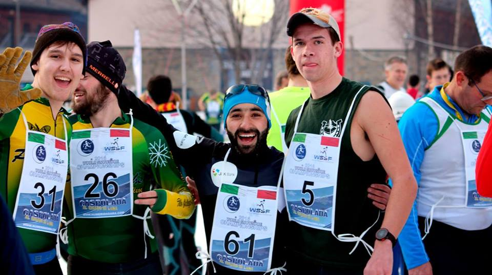 """Paul Smith's College snowshoe racers Tyler Dezago and Rob Calamia, left and Matty """"Ice"""" Leichty, right, stand with Indian snowshoe racer Tanveer Hussain just before last year's World Championship race in Vezza d'Oglio, Italy, in February 2016. (Photo provided — Tanveer Hussain)"""