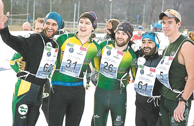"Paul Smith's College snowshoe racers stand with their friends from India's Kashmir region just before the World Championship race in Vezza d'Oglio, Italy, in February 2016. From left are Umer Nabi, Tyler Dezago, Rob Calamia, Tanveer Husain and Matty ""Ice"" Leichty. (Photo provided — Davide Ripamonti)"