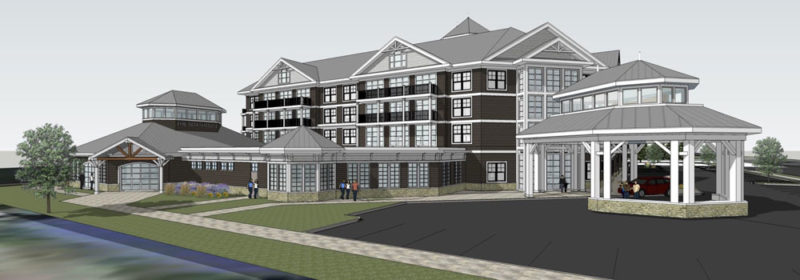 The proposed Lake Flower Resort in Saranac Lake is seen from the perspective of Lake Flower Avenue in this architectural drawing from the developers.