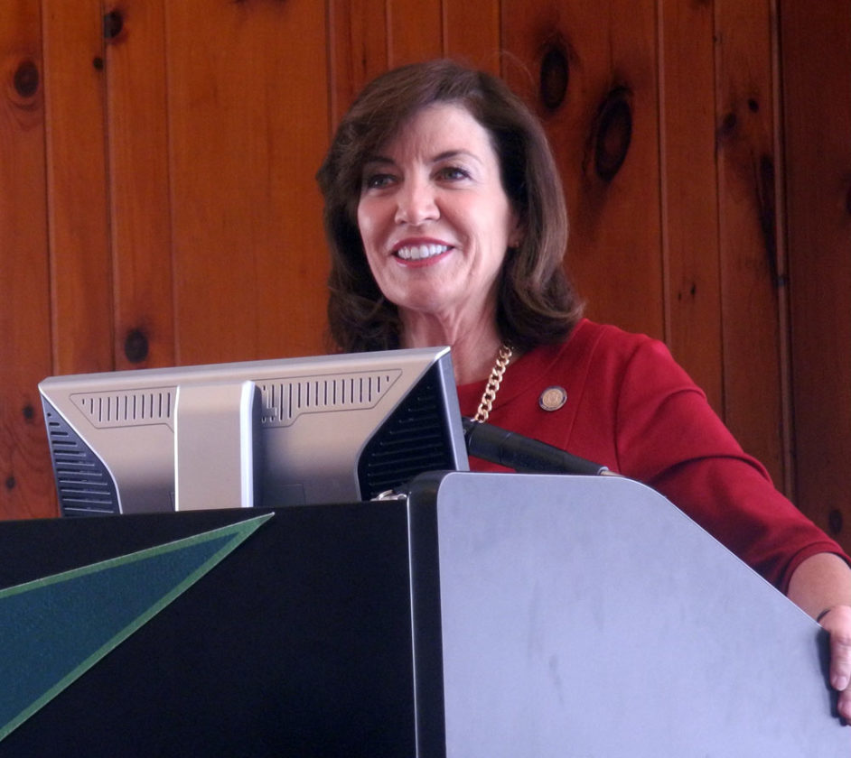 """Lieutenant Governor Kathleen Hochul speaks Tuesday at the """"Women in Science"""" forum at Paul Smith's College. (Enterprise photo — Kelly Carroll)"""