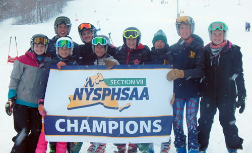 The Saranac Lake and Lake Placid alpine ski teams determined which athletes would represent the two schools at this year's NYSPHSAA championships after a giant slalom race at Mount Pisgah on Thursday afternoon. From left, front row: Aurelle Fogarty (SL), Kate Broderick (LP), Sully Fogarty (SL). Back row: Gunnar Anthony (LP), Logan Purner (SL), Erika Swirsky (SL), Parker Anthony (LP), Andrew VanSlyke (LP), Ryley Fischer (SL). Also on the team, but not pictured is Saranac Lake's Silas Swanson. 							       (Photo provided)
