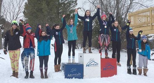 New York Ski Educational Foundation skiers dominate the podium following the giant slalom race Feb. 11 at Hunter Mountain. Among those pictured are Jaden Klebba, Audrey Higgins-Lopez, Norah Dempsey, Sonja Toishi, Ava Day, Madison Kostoss and Gabby Cote, who will represent NYSEF at the under-14 state meet March 4 through 6. Rowen Norfolk, Zach Zientko and Evan Redmond will represent NYSEF in the boys' state meet. (Photo provided)
