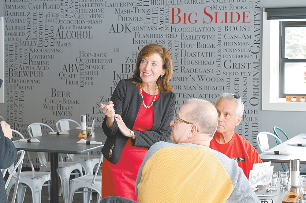Lt. Gov. Kathy Hochul visits the Big Slide Brewery in Lake Placid last week while she was in town for the first North Country Regional Economic Development Council meeting of the year. (Enterprise photo — Antonio Olivero)