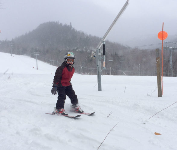 Liam Stoddard, 6, of Saranac Lake, skis along the Fox trail at Whiteface Mountain in Wilmington. (Enterprise photo — Chris Knight)
