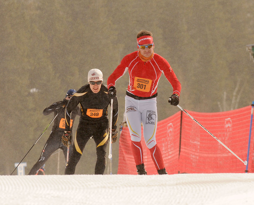 Cross-country skiers race in the Lake Placid Loppet on March 6, 2015, the last time the annual event was held. Last year's Loppet was canceled due to a lack of snow. (Enterprise photo — Lou Reuter)