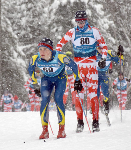 Lake Placid senior Henry McGrew, left, and Saranac Lake's Lauchlan Cheney-Seymour are among the favorites to compete for an individual state title Monday and Tuesay in the NYSPHSAA nordic championships at the North Creek Ski Bowl. (Enterprise photo — Justin A. Levine)