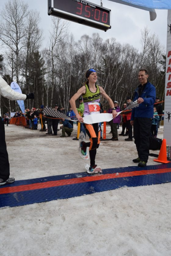Ragna Debats of the Netherlands claims the women's title in Saturday's World Snowshoe Championships in Saranac Lake. (Enterprise photo -- Chris Knight)