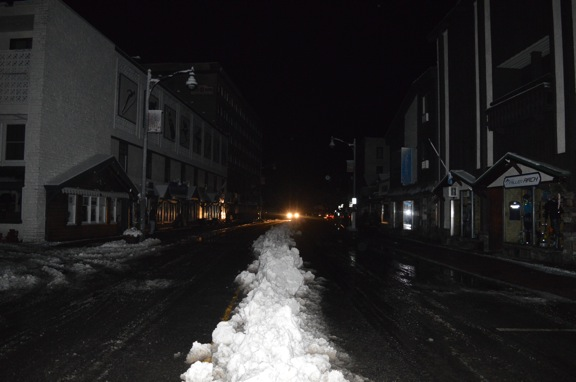 Main Street, Lake Placid, as it was seen around 10 p.m. Saturday, Feb. 25 without power (Enterprise photo — Antonio Olivero)