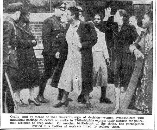 """Women protesting happened long before 2017. """"Thumbing the Nose"""" was a protest, according to Mr. Google, going back to Roman times meaning """"Kiss My ---''. (Photo from the Post Standard of October 1938)"""