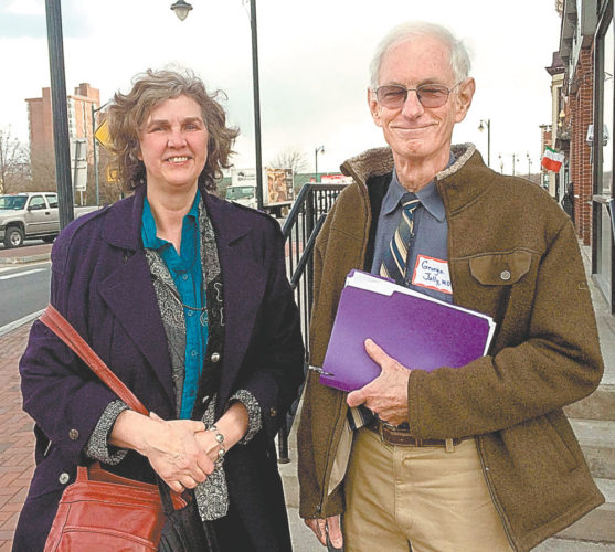 Sergia Coffey, left, and Dr. George Jolly were among a group of 10 people who met with U.S. Rep. Elise Stefanik Friday at her Glens Falls office to talk about health care. (Photo provided — Michael Goot, The Post-Star)