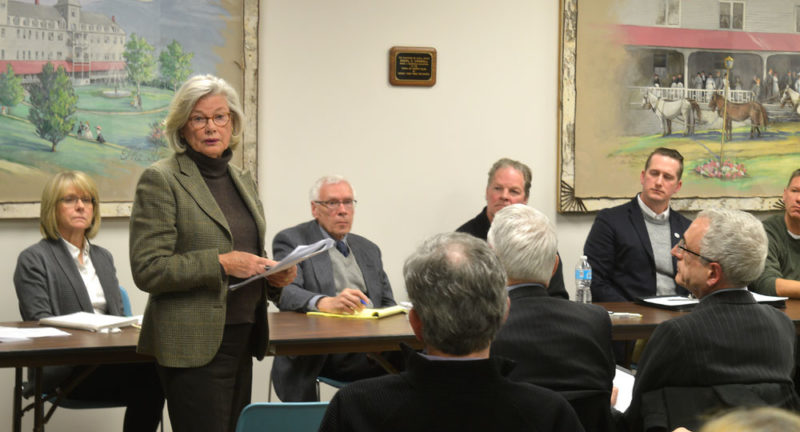Adirondack Museum Board of Trustees member Nancy Keet speaks at the public hearing Monday night at the North Elba Town Hall regarding the village of Lake Placid acquiring the museum's property at 2476-2478 Main St. through an eminent domain procedure. (Enterprise photo —Antonio Olivero)