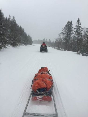 State forest rangers sled an injured hiker out from Whiteface Mountain Friday. (Photo provided by DEC)