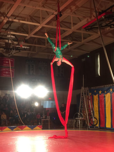 The Cole All-Star Circus returned to TupperLake Friday and Saranac Lake Saturday, pictured here, with acrobats, dancing dogs, contortionists, unicyclists and family fun. (Enterprise photos — Brittany Proulx)