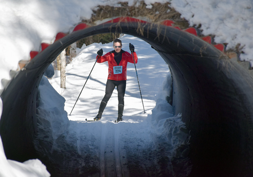 Wilmington resident Kevin Prickett, of Wilmington, skis in the 25-kilometer classic race Saturday at Mount Van Hoevenberg. He finished fifth in 1:46:42. (Enterprise photo — Justin A. Levine)