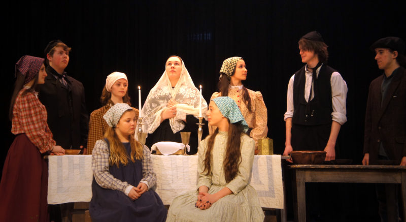 "Saranac Lake High School students star in this weekend's ""Fiddler on the Roof,"" including (seated at front): Morgan Olsen (Bielke) and Eleanor Crowley (Sphrintze); and (back row): Alivia Sapone (Hodel), Will Gray (Tevye), Abbie Wolff (Chava), Natalie Orman (Golde), Elodie Linck (Tzietal), Ian Urquhart (Motel) and Antonio Villani. (Photo provided)"