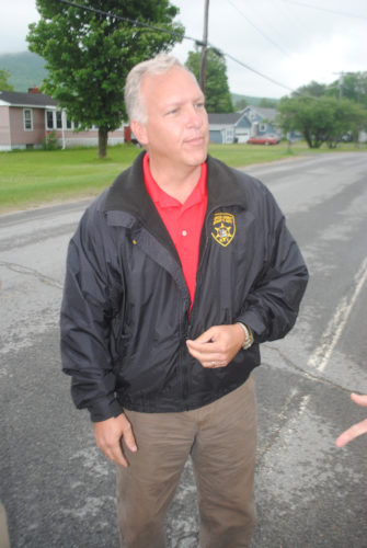 Franklin County Sheriff Kevin Mulverhill talks to reporters during a search for two escaped prison inmates in June 2015. (Enterprise photo — Tom Salitsky)
