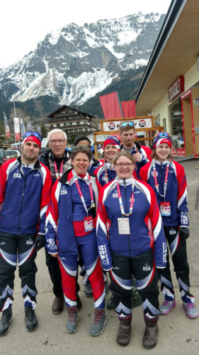 Special Olympian John Piestrzynski, far left, of Lake Placid poses for a picture at the 2017 Special Olympics World Winter Games in Austria alongside his American teammates and Lake Placid Mayor Craig Randall (second from left). On Tuesday, Piestrzynski took home the silver medal in the one-kilometer cross-country skiing freestyle race for the men's fifth division. Piestrzynski also finished in eighth place in the 500-meter cross-country skiing freestyle final and in fifth place in the four-by-one kilometer cross-country skiing freestyle relay. (Photo provided — Jim McKenna, ROOST)